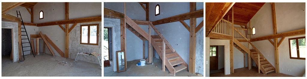 Création d'un escalier en bois massif et d'une rambarde de mezzanine