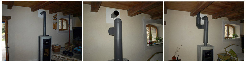Récupérateur de chaleur sur conduit de fumée et soufflage dans les chambres à l'étage.