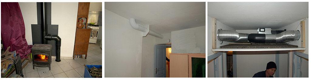 Récupérateur de chaleur sur conduit de fumée et soufflage dans les pièces du rez-de-chaussée.